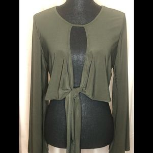 Fashion Nova Sexy Open Front Tie Crop Top•Size XL